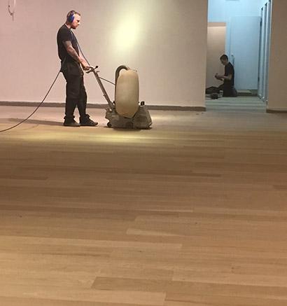 Wood sanding for halls