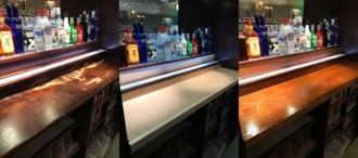 Bar counter polish and lacquered